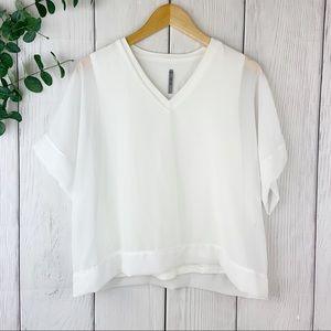White Semi Sheer Box Blouse